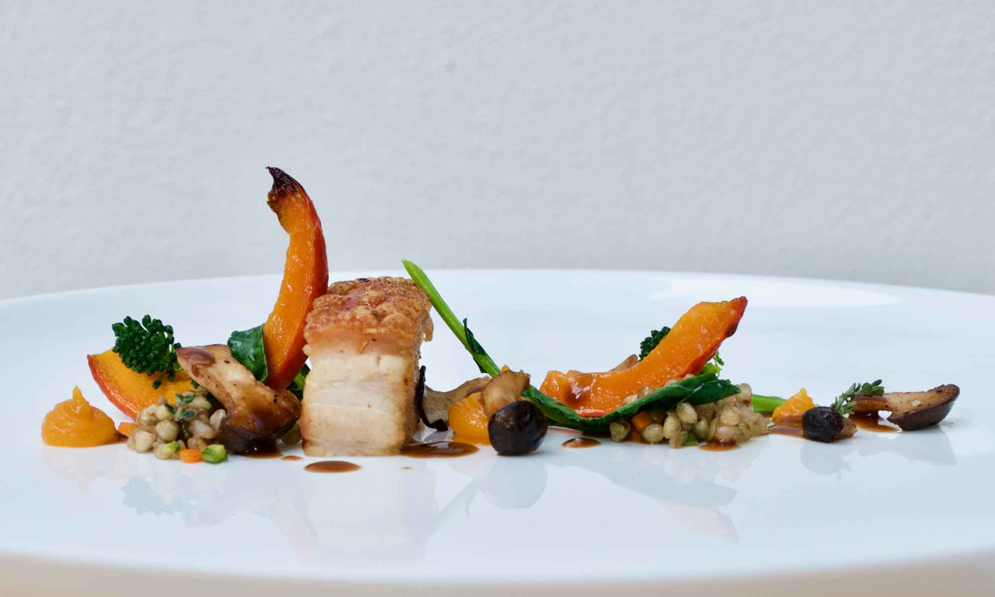 Pollensa Private Chefs - Food - Pork belly, roast squash with buckwheat